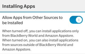 Enable Allow Apps from Other Sources to be Installed